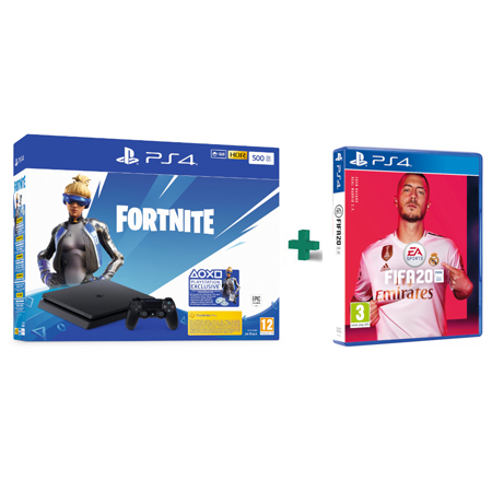 Konzola Playstation 4 500GB Slim F Chassis + Fortnite VCH 2019 + FIFA 20