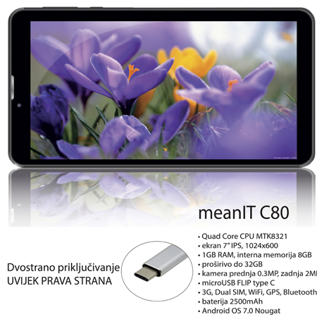 "7"" MEANIT Tablet C80 Black 3G"