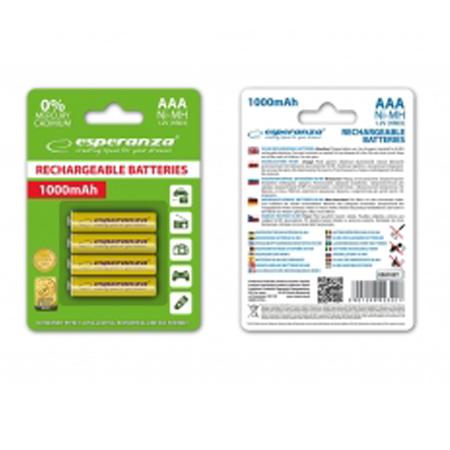 Esperanza Baterije AAA Rechargeable NiMH 1000mAh 4KOM EZA102