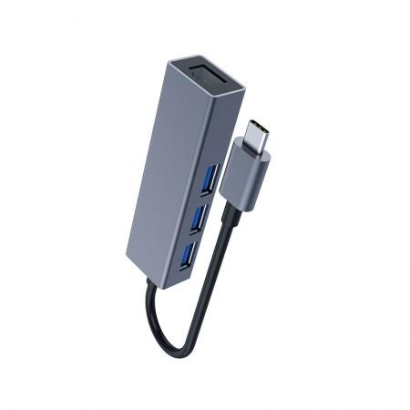 DM CHB002 Type-C USB 2.0 HUB 3 Ports + RJ45 Ethernet Port