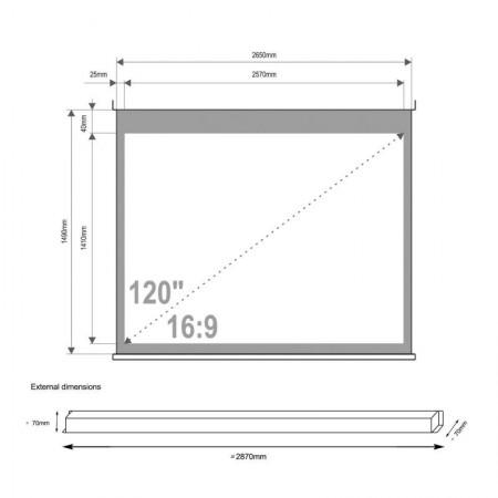 4World Projekciono Platno 265x149 + Kontroler